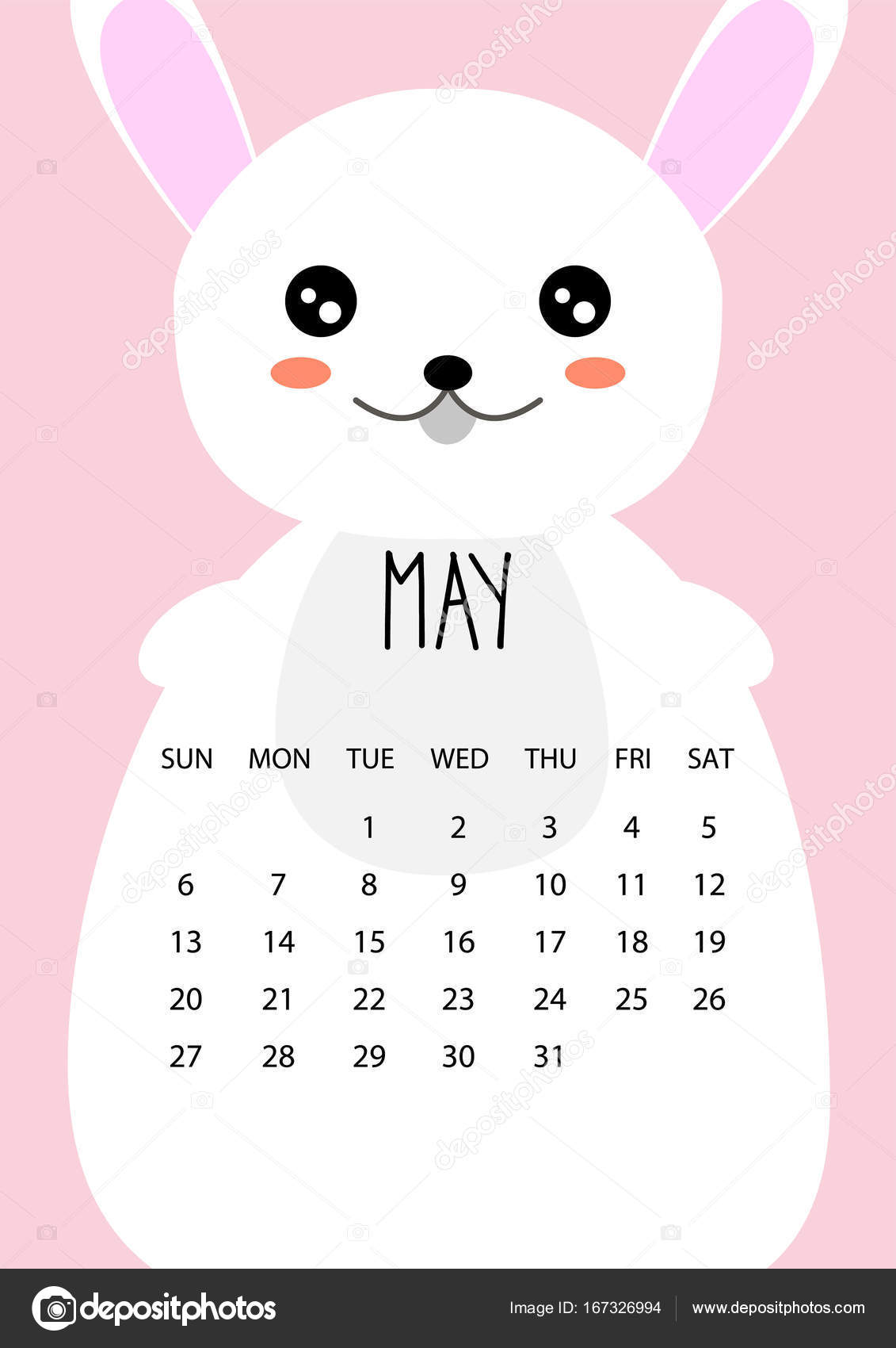 Cute Calendar Illustration : Cute month calendar design for year may a format