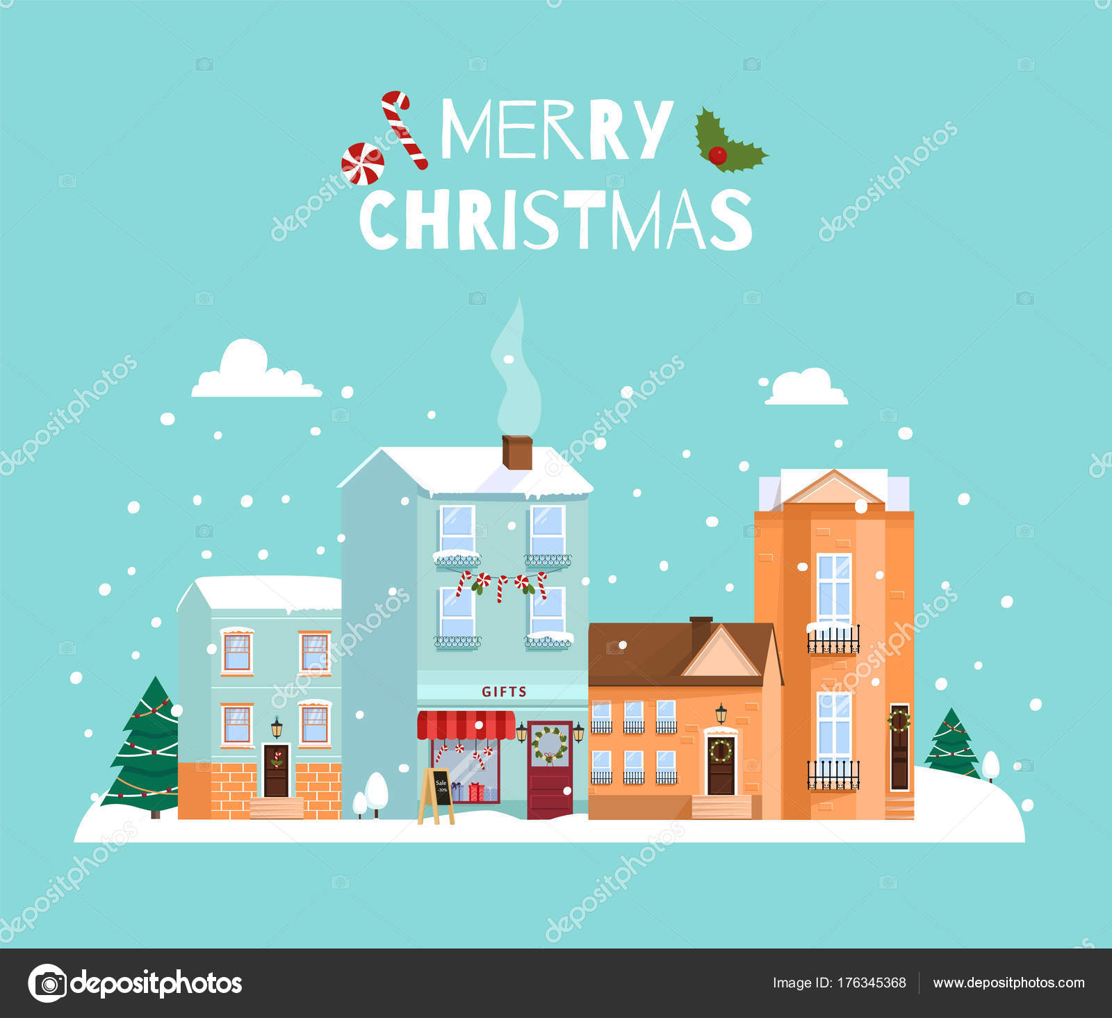 Merry Christmas. Cute houses. Flat style vector illustration ...