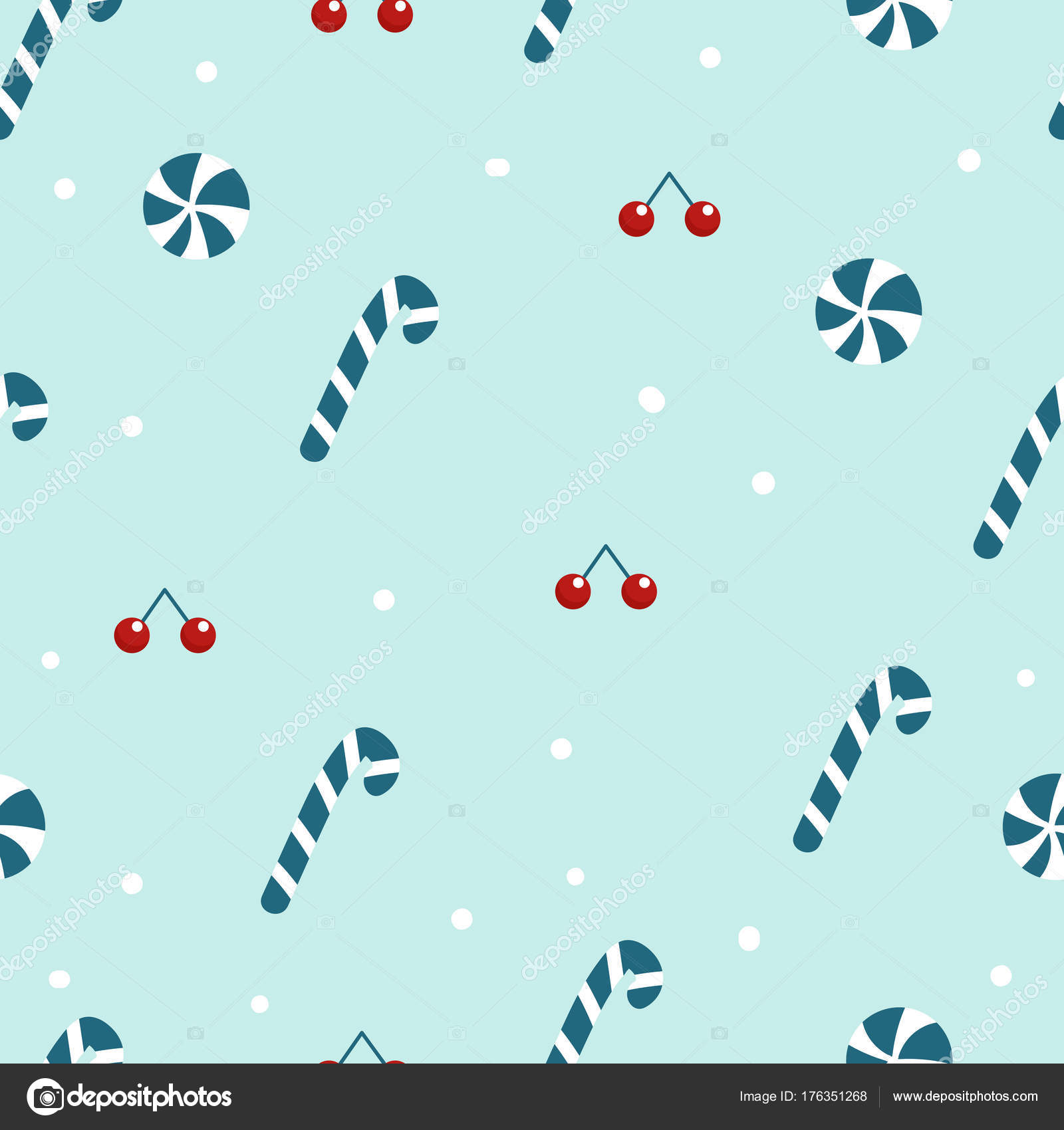 Blue Candy Cane And Christmas Cookies Wallpaper Seamless Pattern Vector By 13kovtungmail