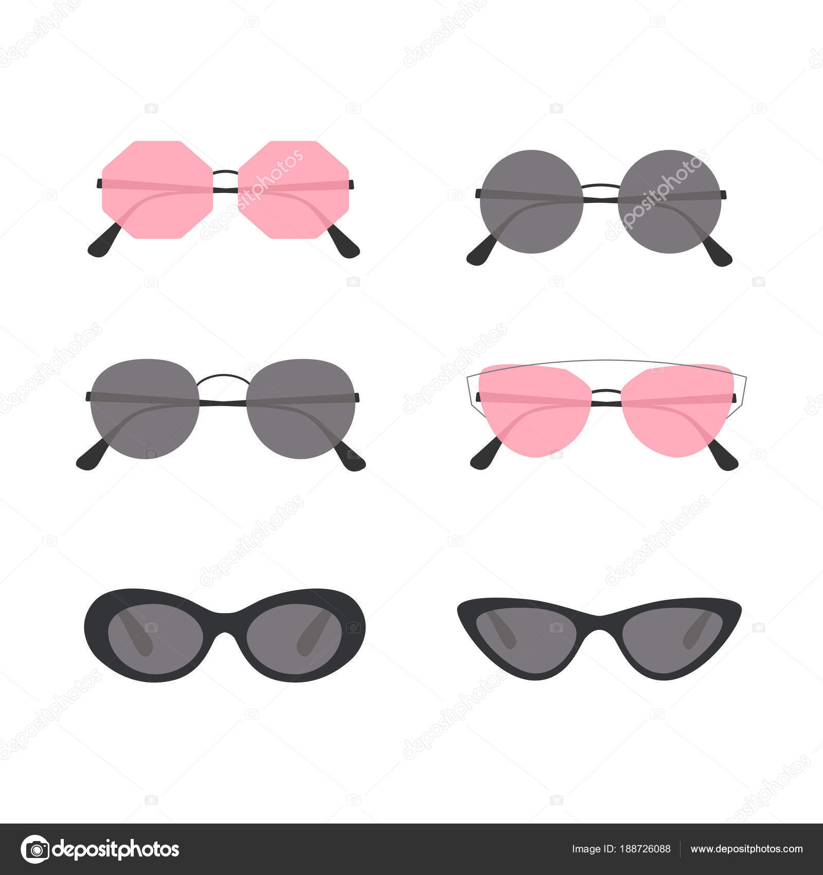 Óculos de sol. Conjunto de ícones coloridos, óculos de sol. Acessórios de  moda c99356fbd0