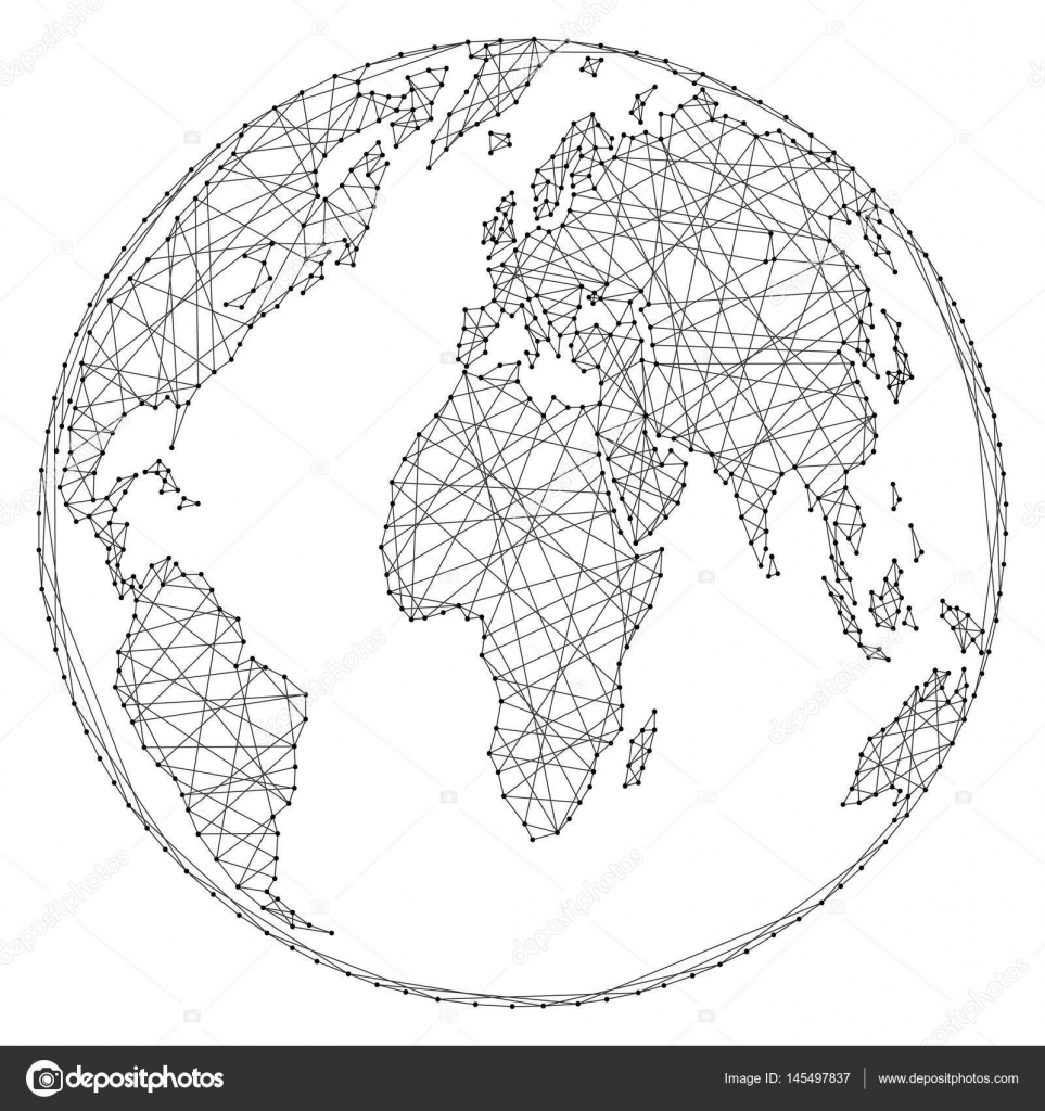 Abstract world map on a globe ball of polygonal lines and dots on a abstract world map on a globe ball of polygonal lines and dots on a white background of vector illustration vector by elenvd gumiabroncs Gallery