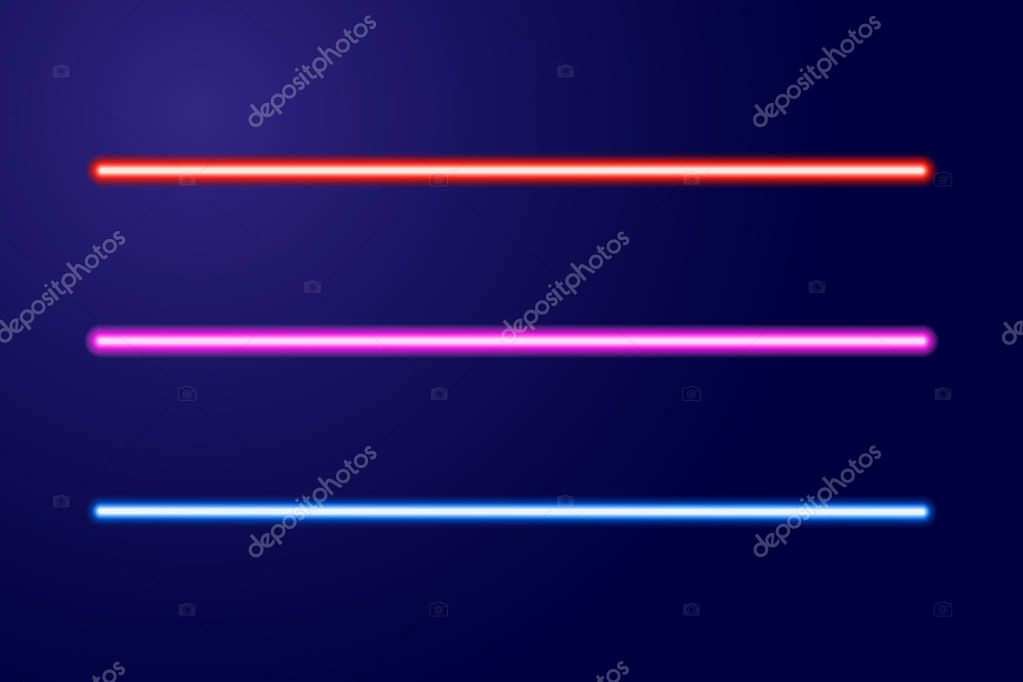 Neon blue, red, pink glowing lines or light swords of vector illustration