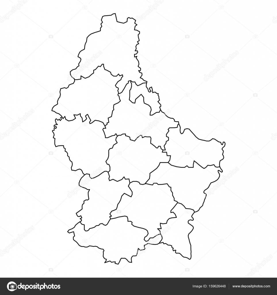 Luxembourg Map Of Black Contour Curves Of Vector Illustration - Luxembourg map vector