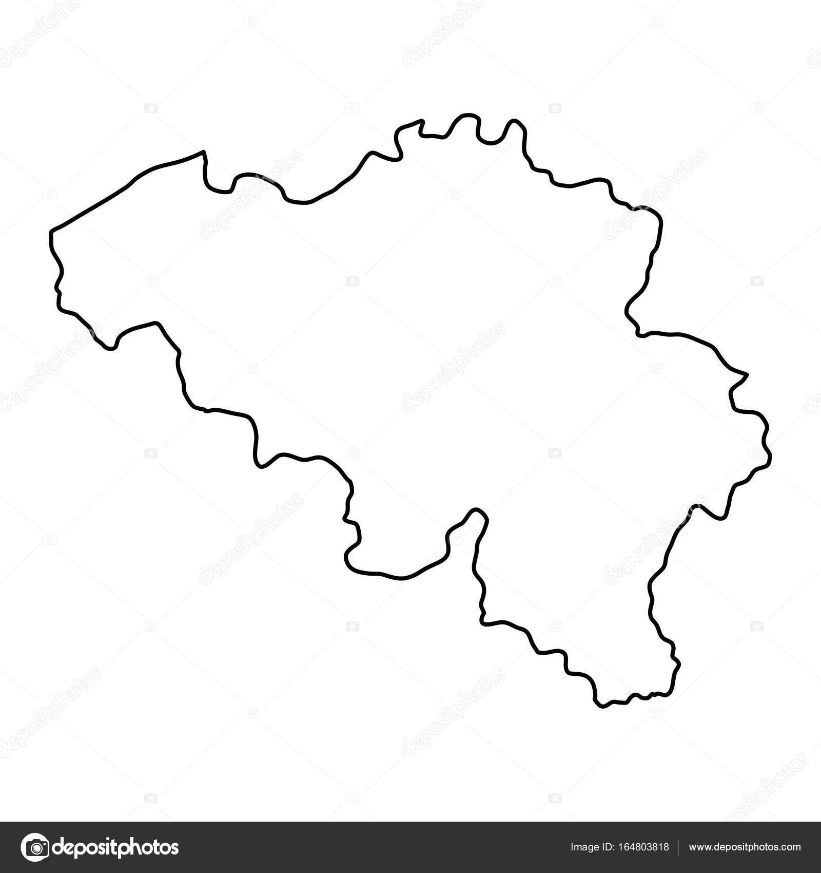 Belgien Karte Umriss.Belgien Karte Von Schwarzen Konturkurven Von Vektor Illustration
