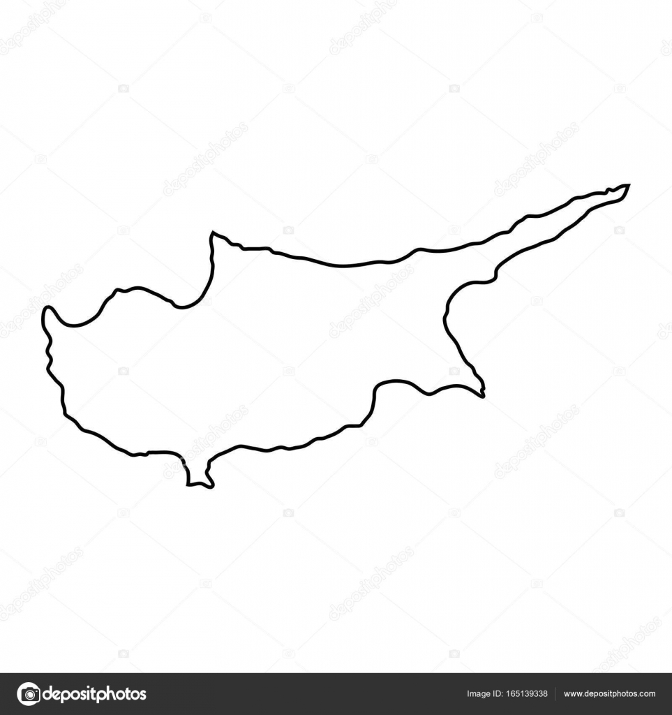 Cyprus Map Of Black Contour Curves Of Vector Illustration Stock - Cyprus blank map