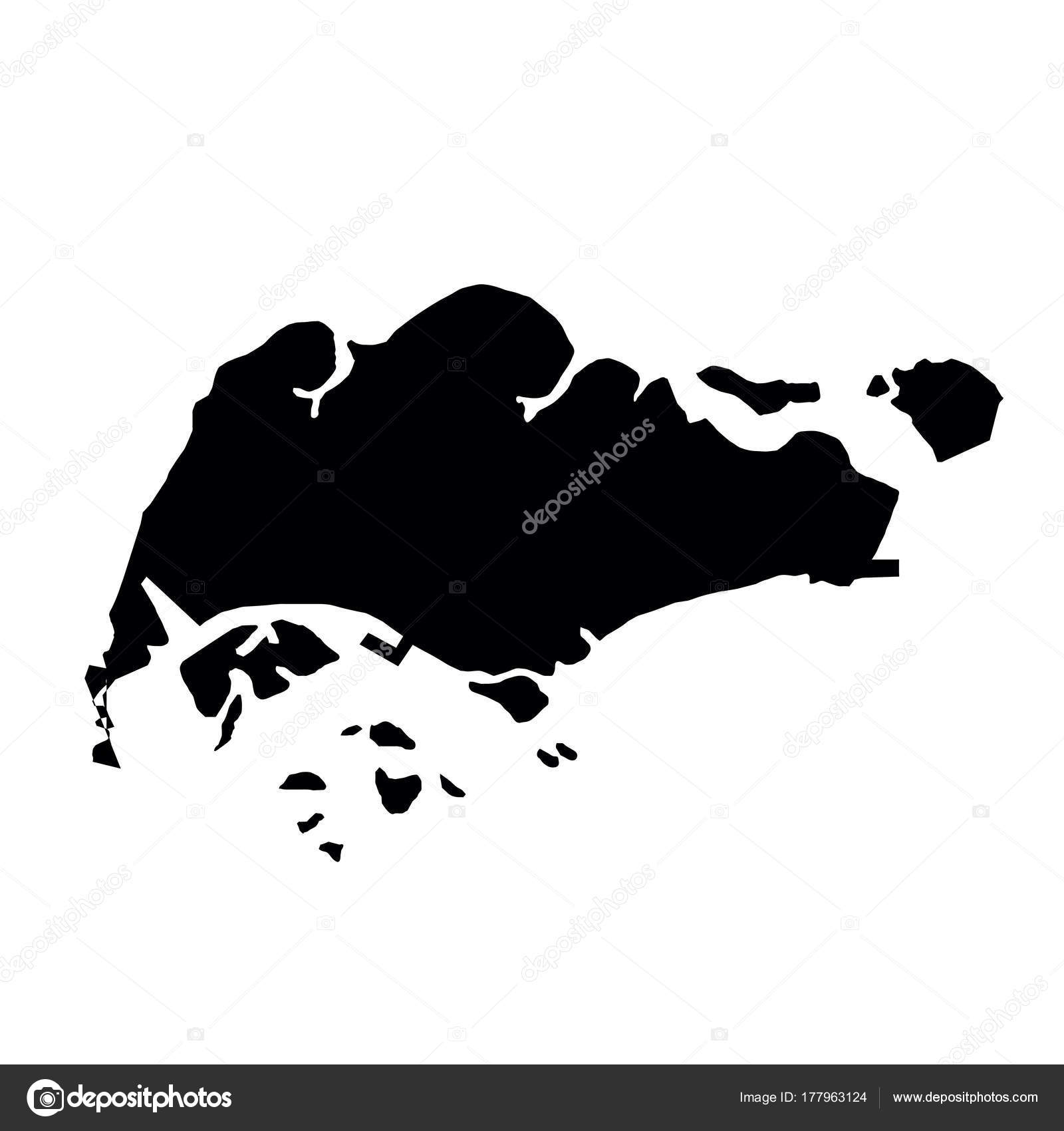 black silhouette country borders map of Singapore on white ...
