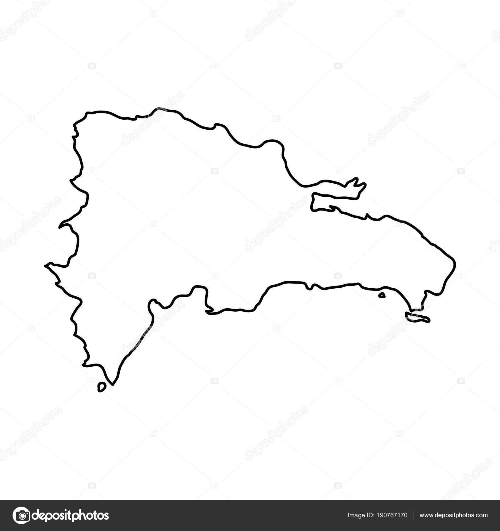 Mapa De Republica Dominicana En Blanco.Republica Dominicana Mapa De Curvas De Nivel Negro De