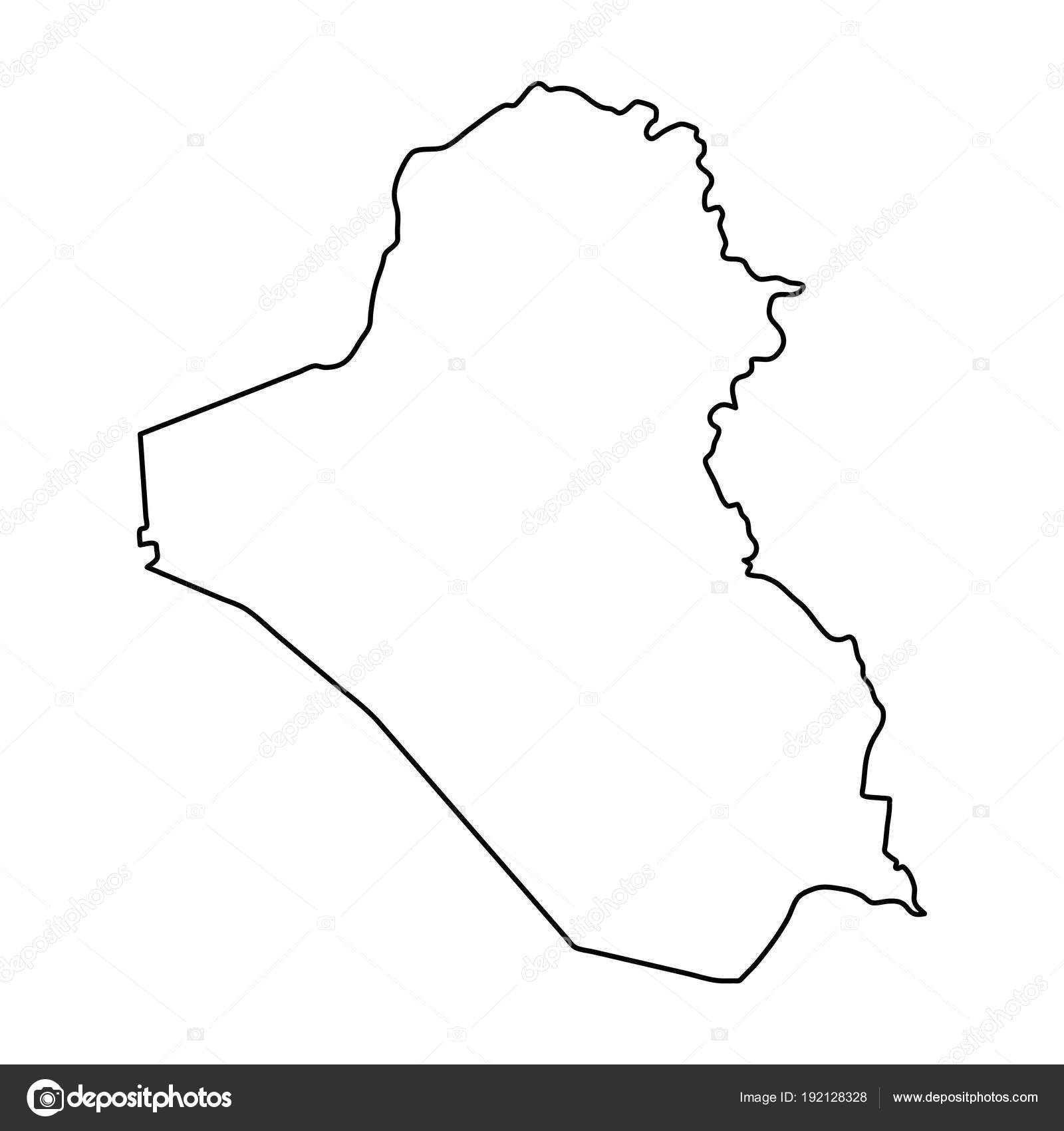 Iraq map of black contour curves on white background of