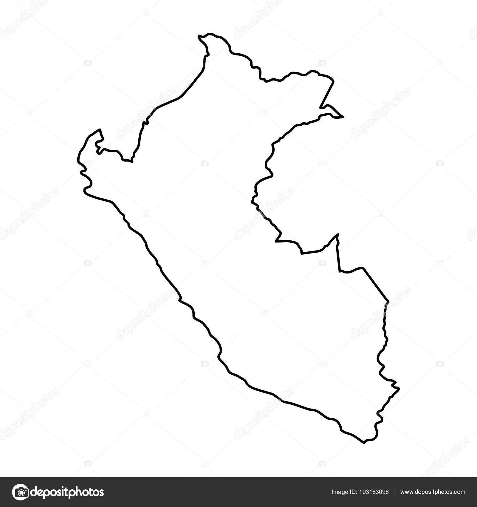 Peru Karte Umriss.Peru Landkarte Von Schwarzen Konturkurven Von Vektor