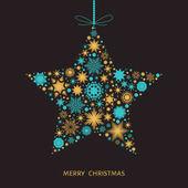 Vánoční přání s hvězdou s zlaté a modré vločky.