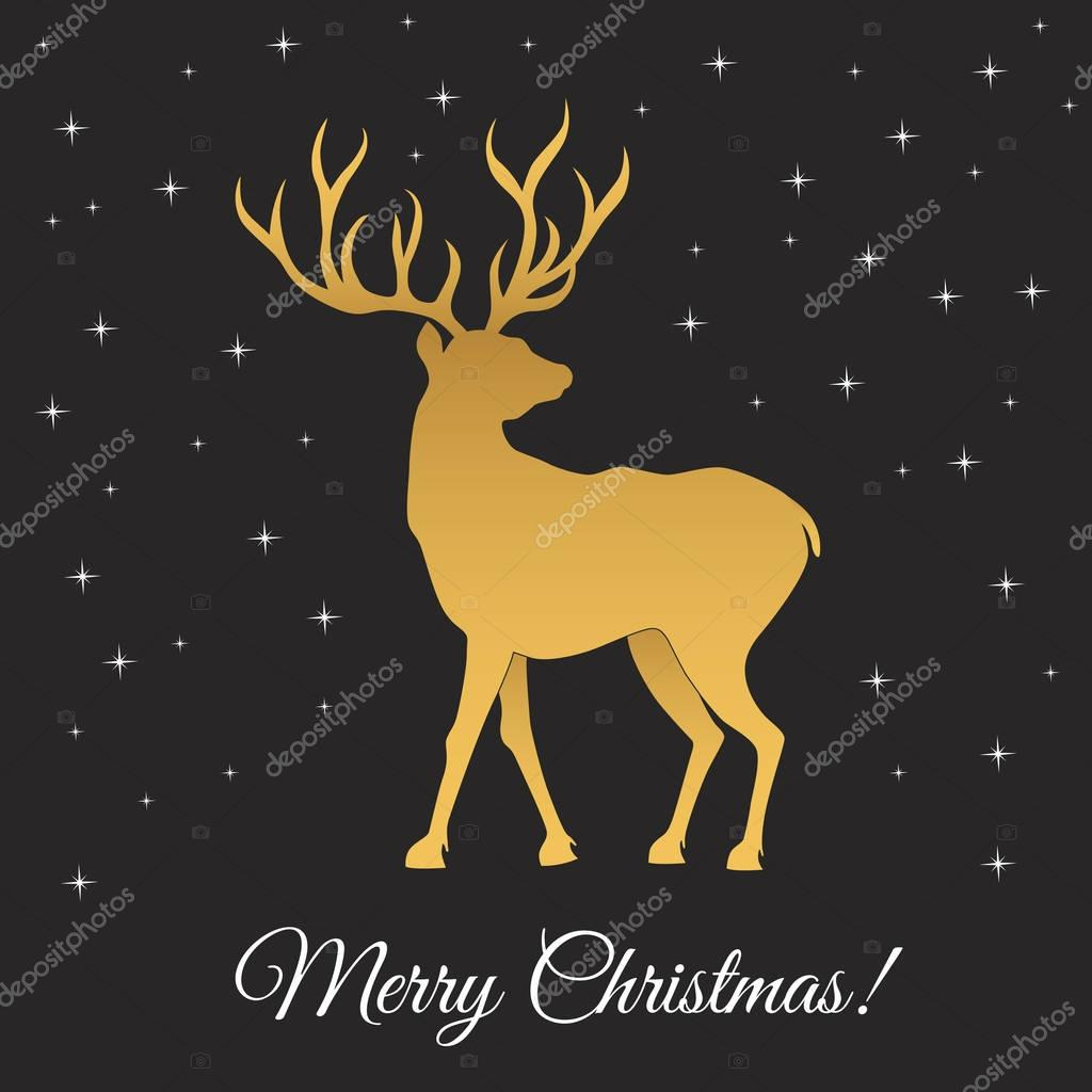 Merry Christmas Gold Deer Silhouette And Snowflakes Stock Vector