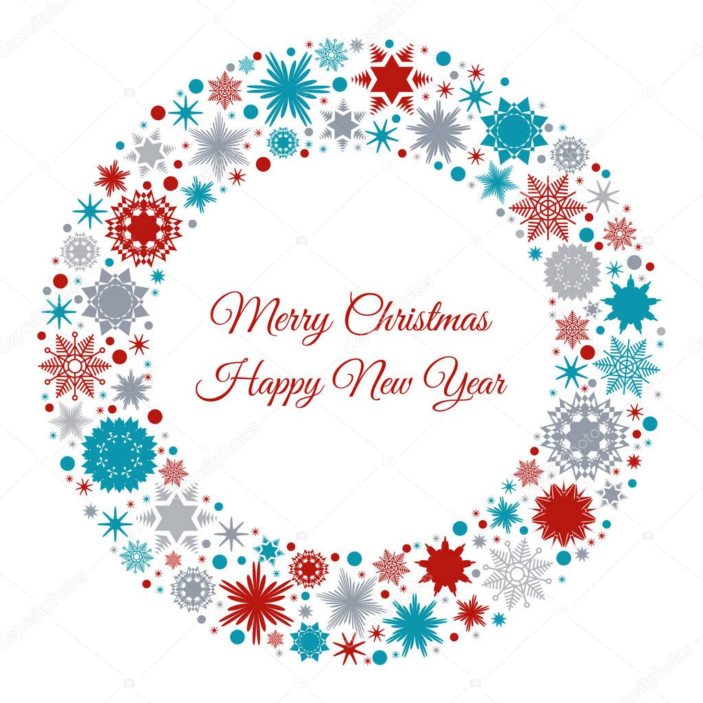Merry Christmas and Happy New Year greeting card. — Stock Vector ...