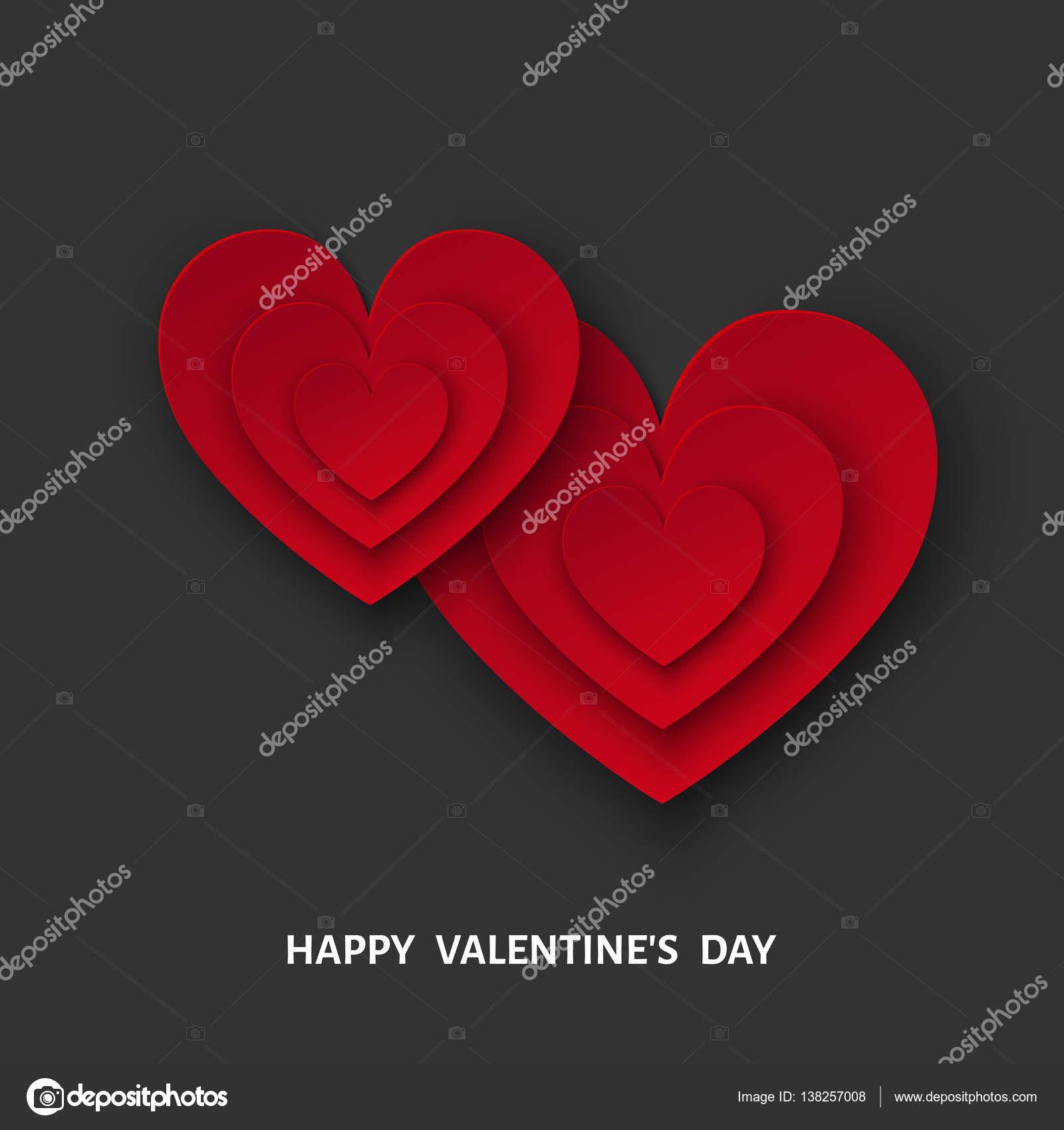 Valentinstag, schwarzer Hintergrund mit roten Papierherzen ...