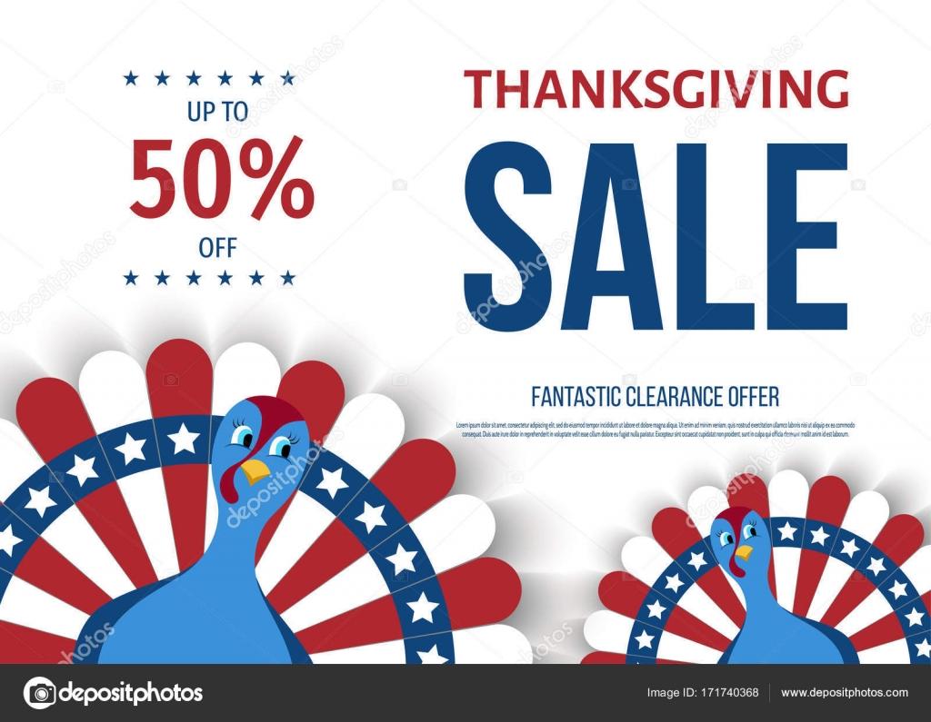 USA Thanksgiving Tag Verkauf Banner mit Cartoon Türkei Vogel ...