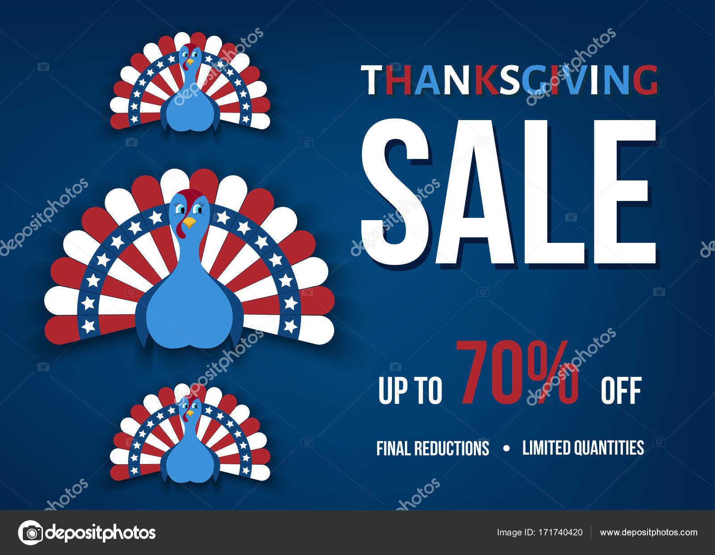 Thanksgiving Day Sale Banner mit der Türkei im flachen Stil ...