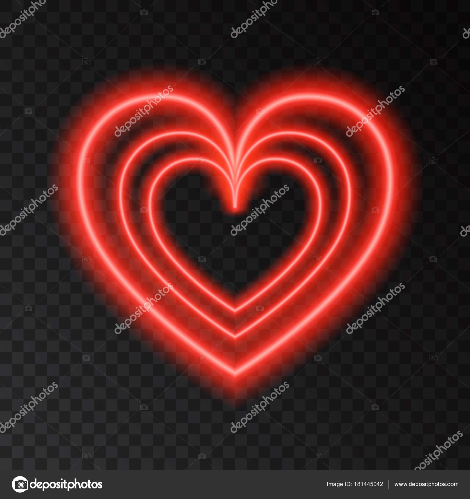 Neon Leuchten rote Herzen — Stockvektor © alenaohneva #181445042