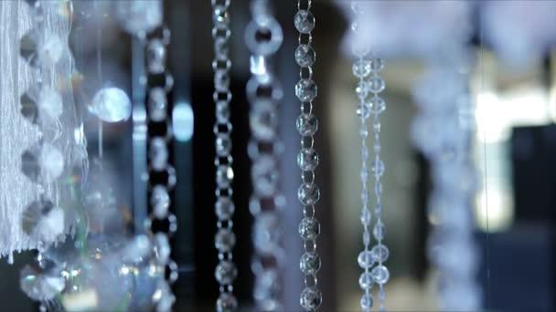 Crystal pendants decoration, decor elements close-up.