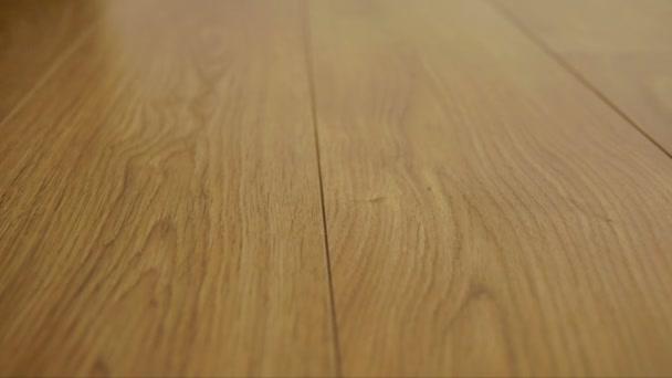 Kamera se pohybuje po podlaze, pokrytý vrstvené parkety s hnědá dřevěná textura