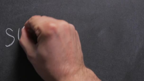 Concept, close-up of a mans hand writing the word supplement on a chalkboard