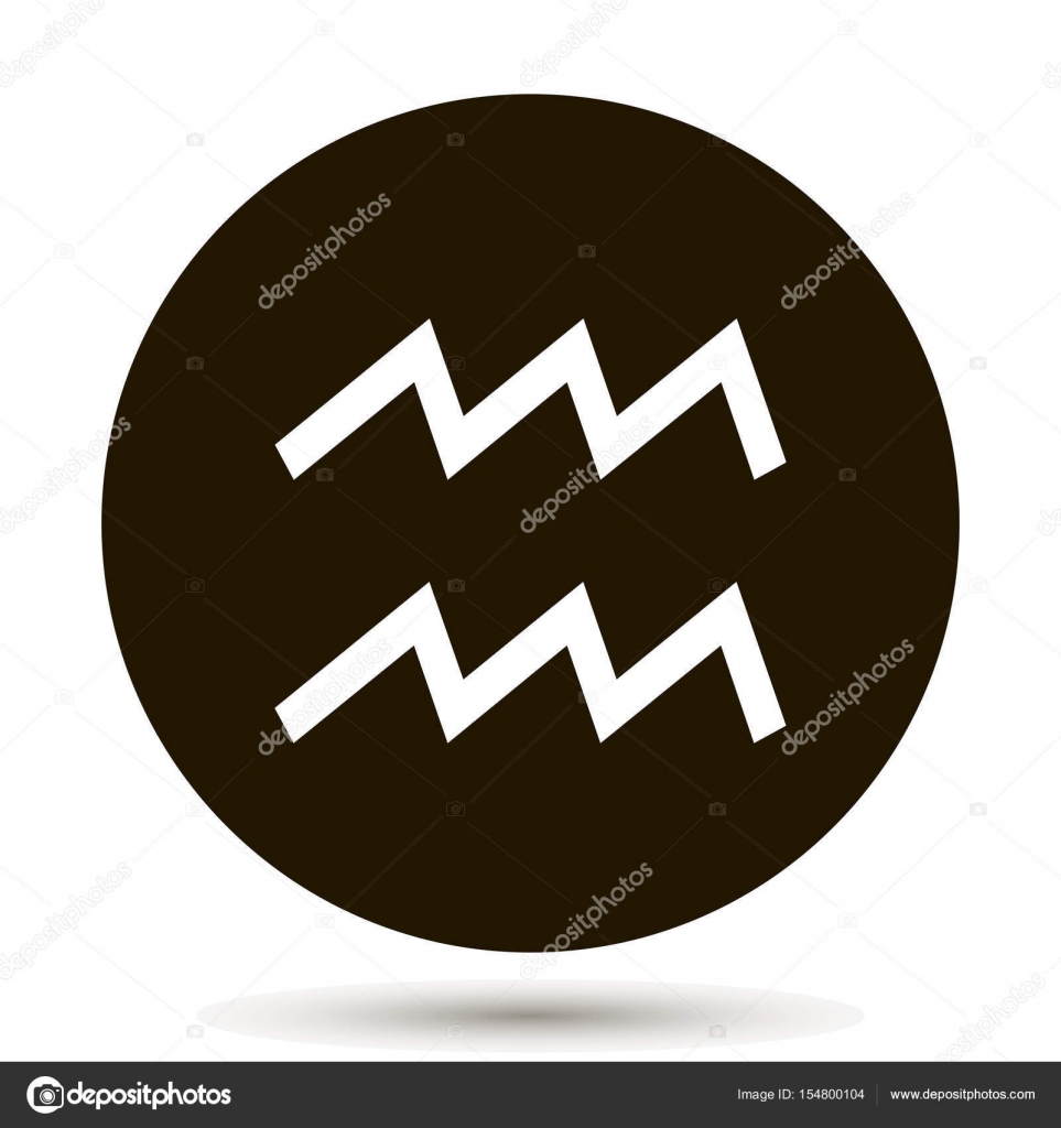 004a62610 Aquarius zodiac sign. Astrological symbol icon in circle. On black  background. — Vector by oksanaoo