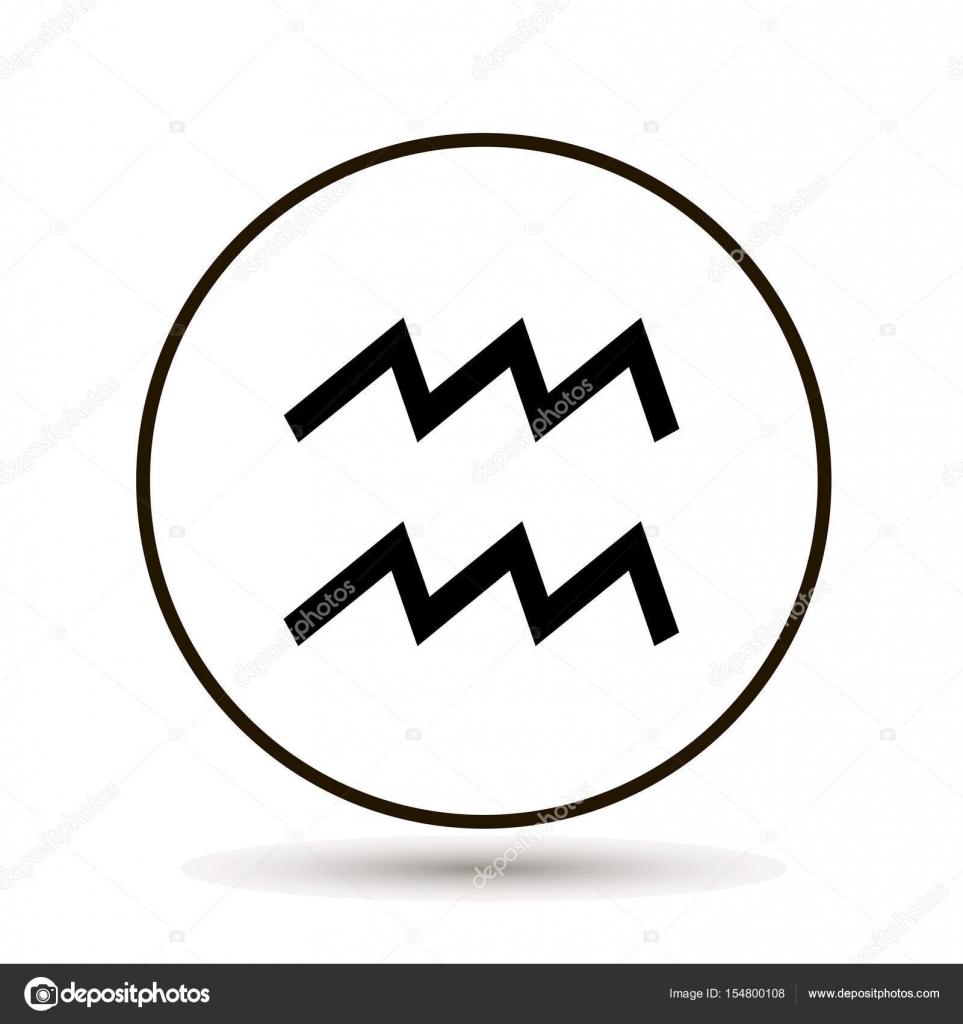 Aquarius Zodiac Sign Astrological Symbol Icon In Circle Stock