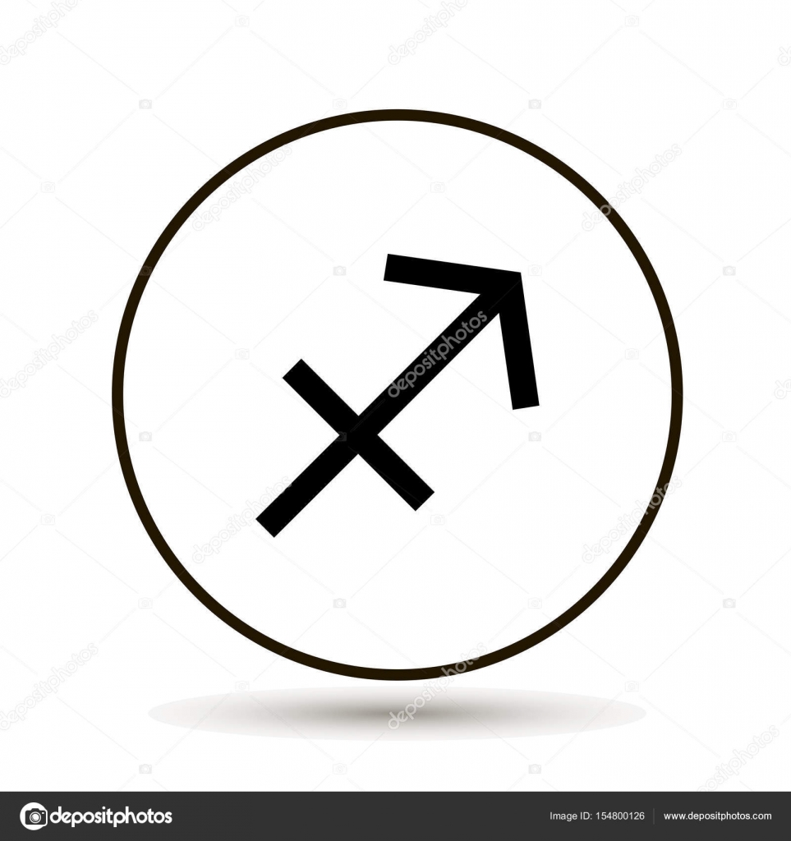 Sagittarius Zodiac Sign Astrological Symbol Icon In Circle Stock
