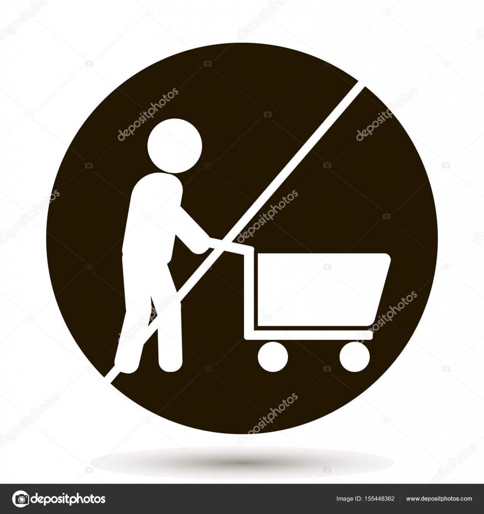 feb84b1cd5 A proibição de andar com o carrinho com os produtos. Nenhum sinal de  carrinho compras. Com o carrinho não é permitido. Ilustração em vetor em  fundo preto ...