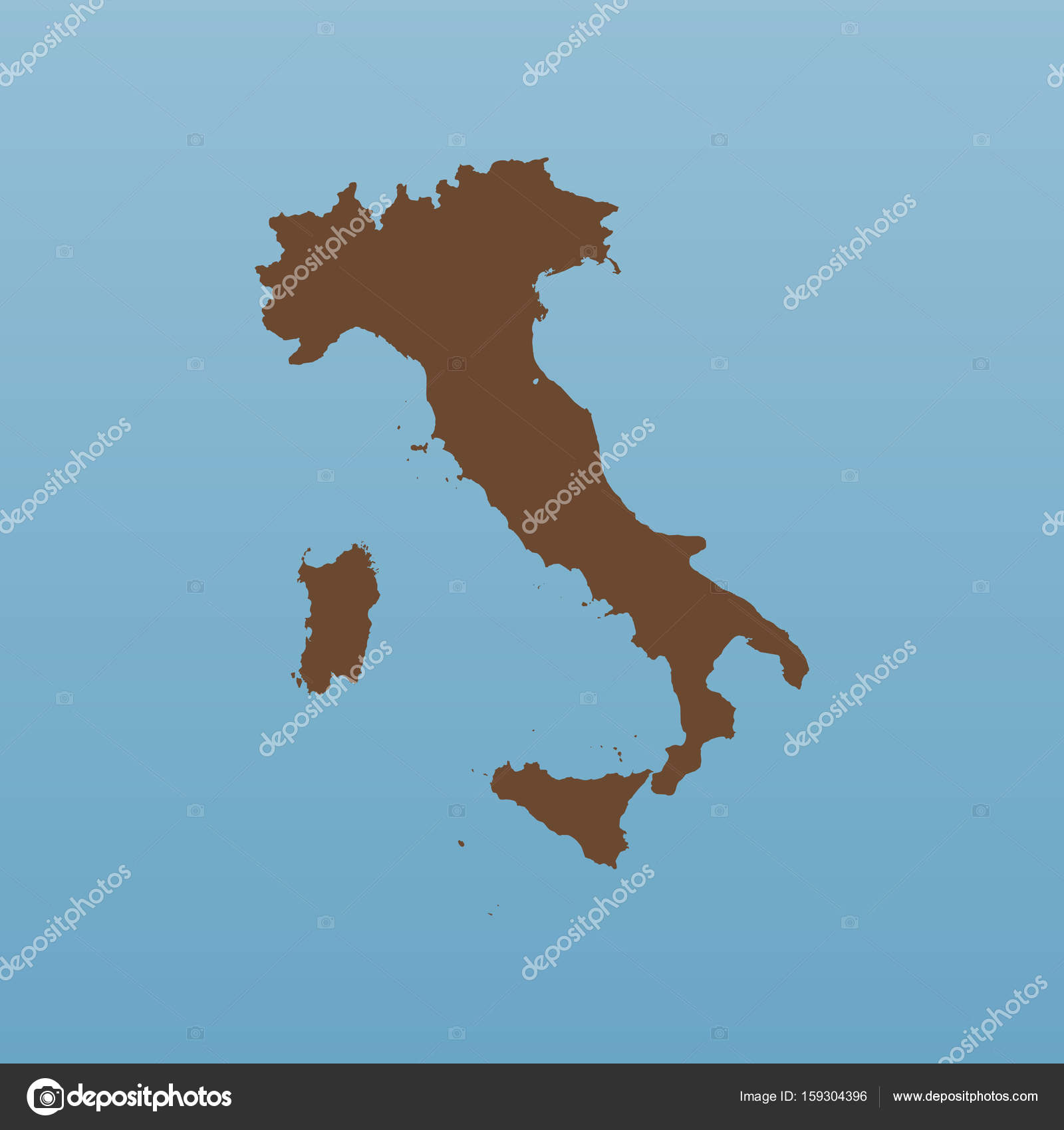 Blank Italy Map Flat Italy Map Illustration Stock Vector