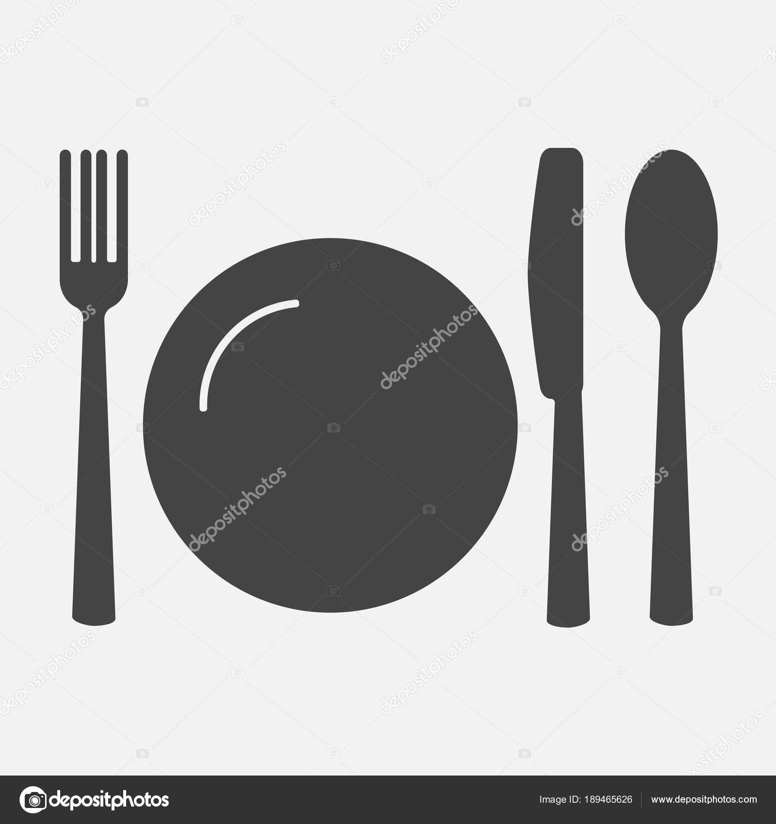 Knife fork spoon and plate. Cutlery. Table setting. Vector icon illustration \u2014 Vector by oksanaoo  sc 1 st  Depositphotos & Knife fork spoon and plate. Cutlery. Table setting. Vector ico ...