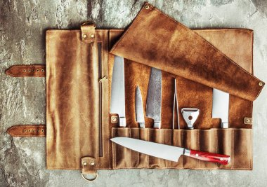 Set of professional cook tools. Special case of cook knives.