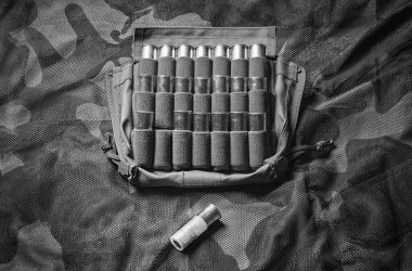 Set of cartridges for a shotgun. One cartridge is higher than th
