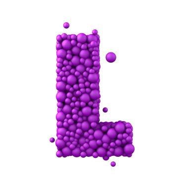 Letter L made of plastic beads, purple bubbles,  3d render