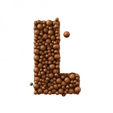 Letter L made of chocolate bubbles, milk chocolate concept, 3d r