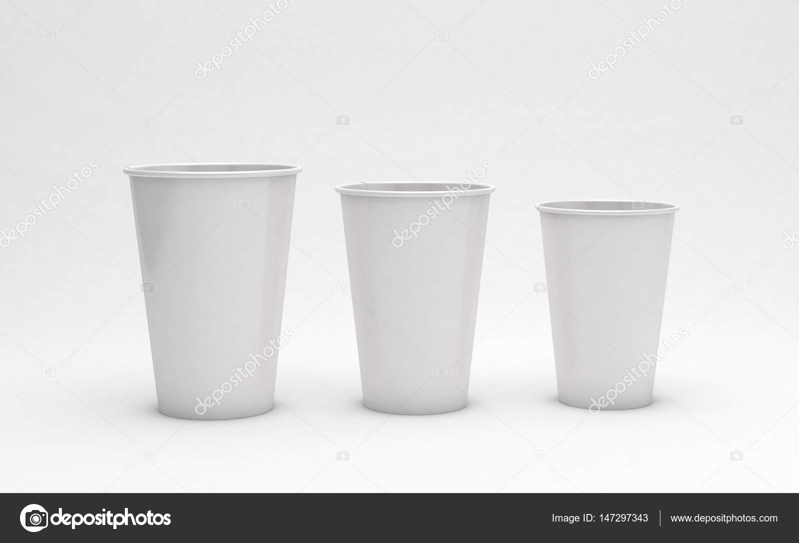aec3ae61338 Cardboard coffee cups on light background, ecology concept. 3d  illustration– stock image