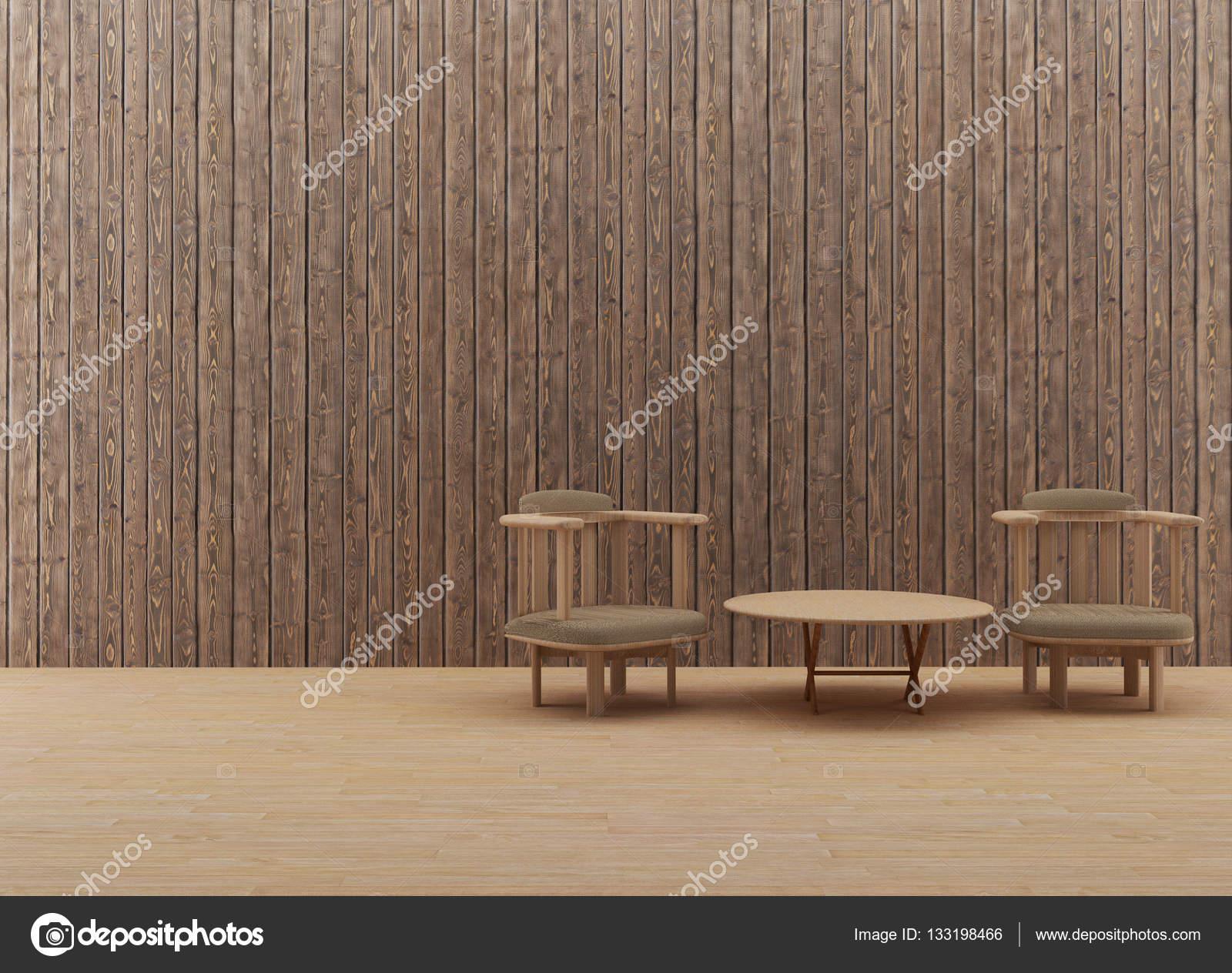 innen Holz Tisch und Stuhl-Design in 3d Render Bild — Stockfoto ...
