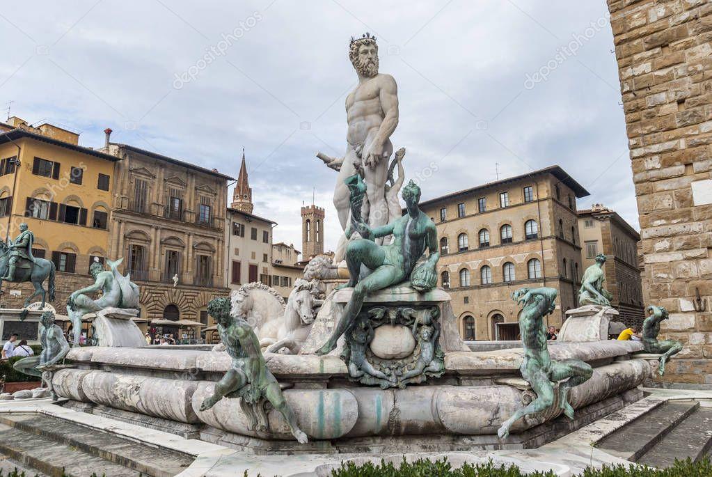 Fountain Of Neptune Piazza Della Signoria Florence Stock