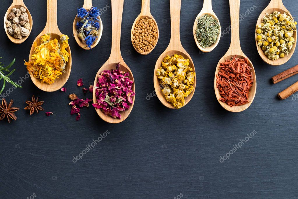 Herbs on wooden spoons on a dark background with copy space, top
