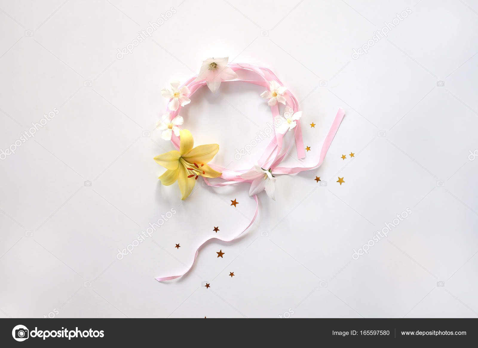 Round Frame Of Pink Ribbon With Flowers And Srars Isolated Stock