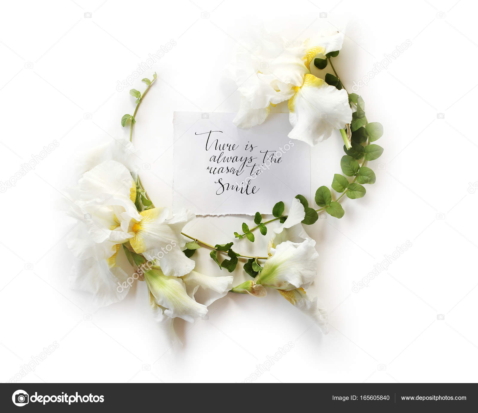 Floral Frame Wreath Made Of Fresh Iris White Flowers Stock Photo