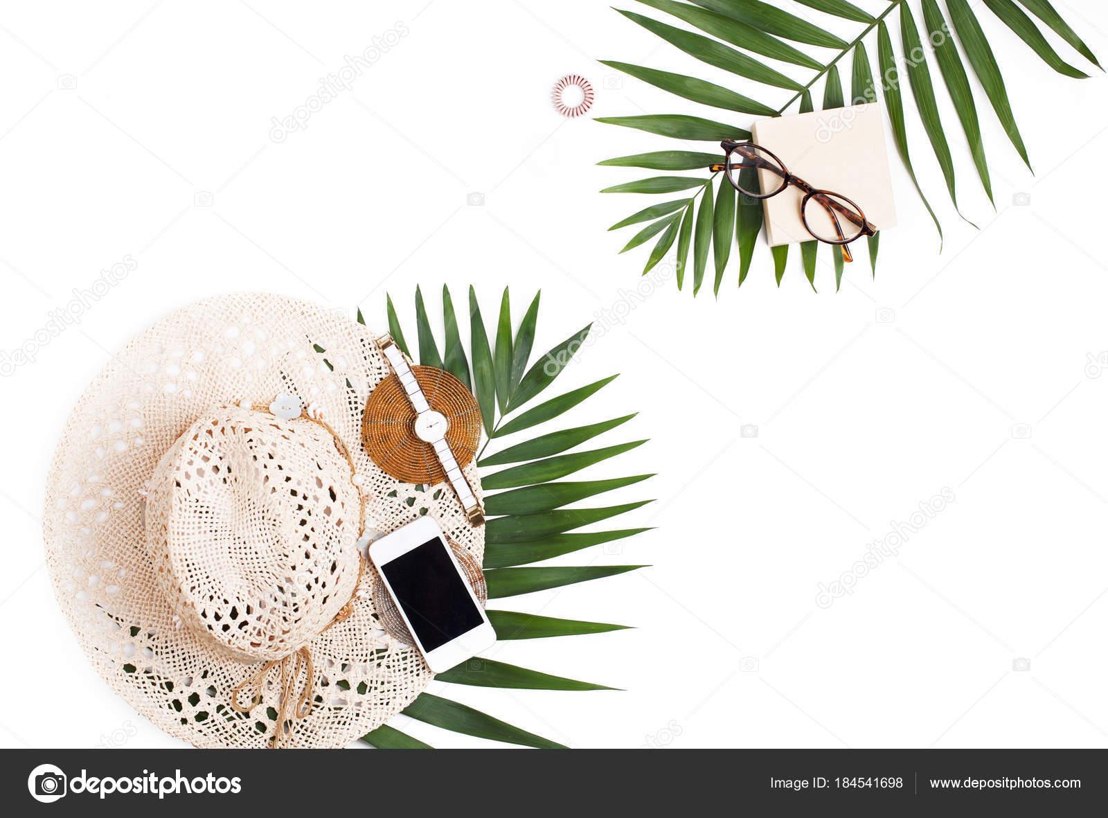 Chapéu De Palha Telefone Celular óculos E Palm Folha Plana Lino