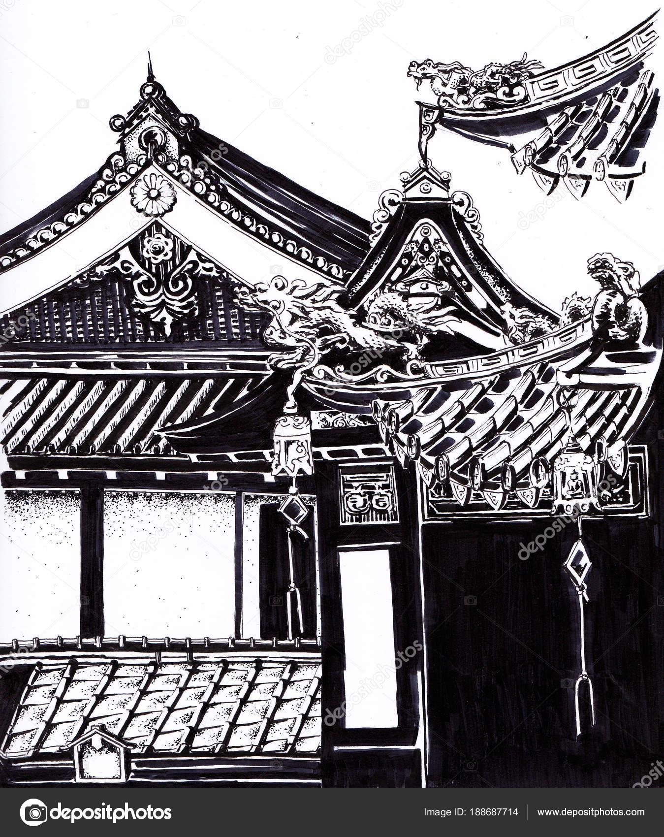templos orientais com pagodes desenho tinta stock photo