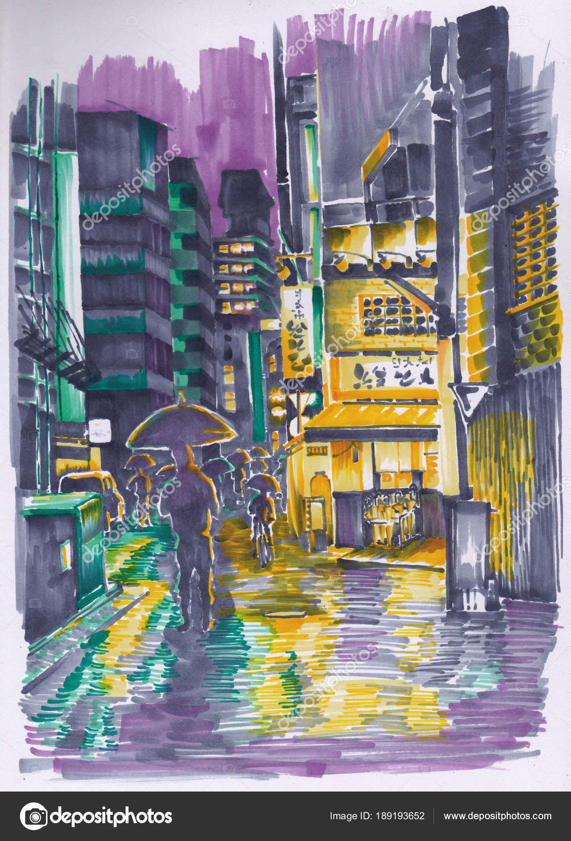avond straat van japan mensen haast thuis winkels verlichting schets stockfoto