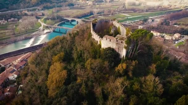Aerial shot, an abandoned perched castle Castello di Ripafratta in Tuscany, Italy, 4K