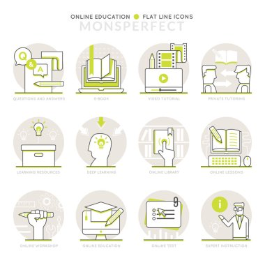 Infographics Icons Elements about Online Education
