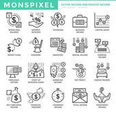 Ploché tenké linie ikony nastavit aktivní příjem a pasivní příjem