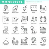 Ploché tenké linie ikony nastavit kreativní myšlenky a služeb