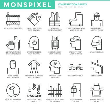 Flat thin line Icons set of Construction Industry And Building Safety