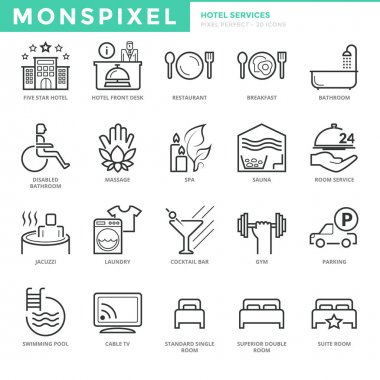 Flat thin line Icons set of Hotel Services