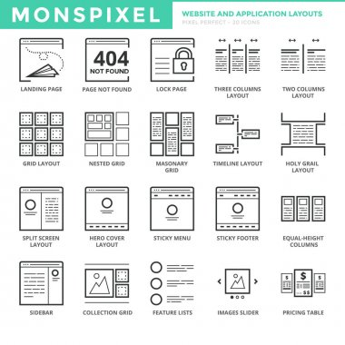 Flat Icons set of Website and Application Layout for Web Development