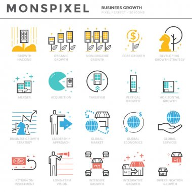 Flat thin line Icons set of Business Growth and Economy